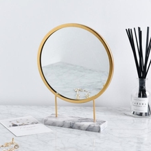 Nordic Simple Makeup Mirror Marble  Round Mirror Iron Dressing Table Bedroom Room Decoration Standing Mirror