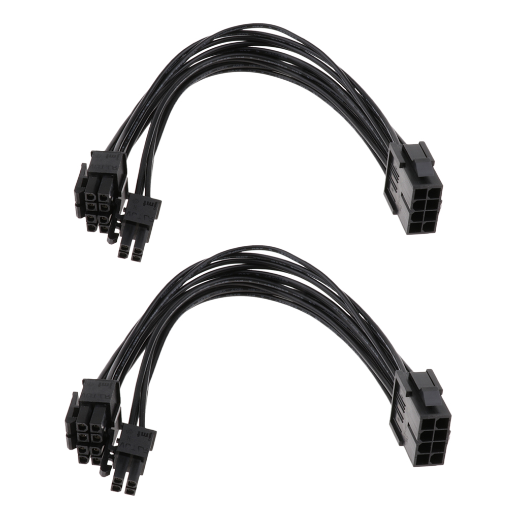 2 Pack CPU 8Pin To 8+4pin Power Supply Extension Cable Cord Black 20cm