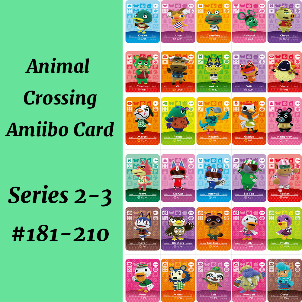 Series 2&3(181-210) Ankha Freya Kid Cat Big Top Agent S Animal Crossing Card Work For NS Game