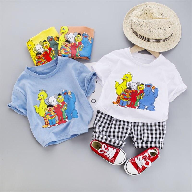 camisa shorts 2 pçs sets criança algodão