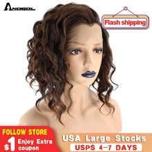 Anogol Widow Peak High Temperature Fiber Hair Free Part 2 Tones Mixed Brown Short Deep Wave Synthetic Lace Front Wig For Women