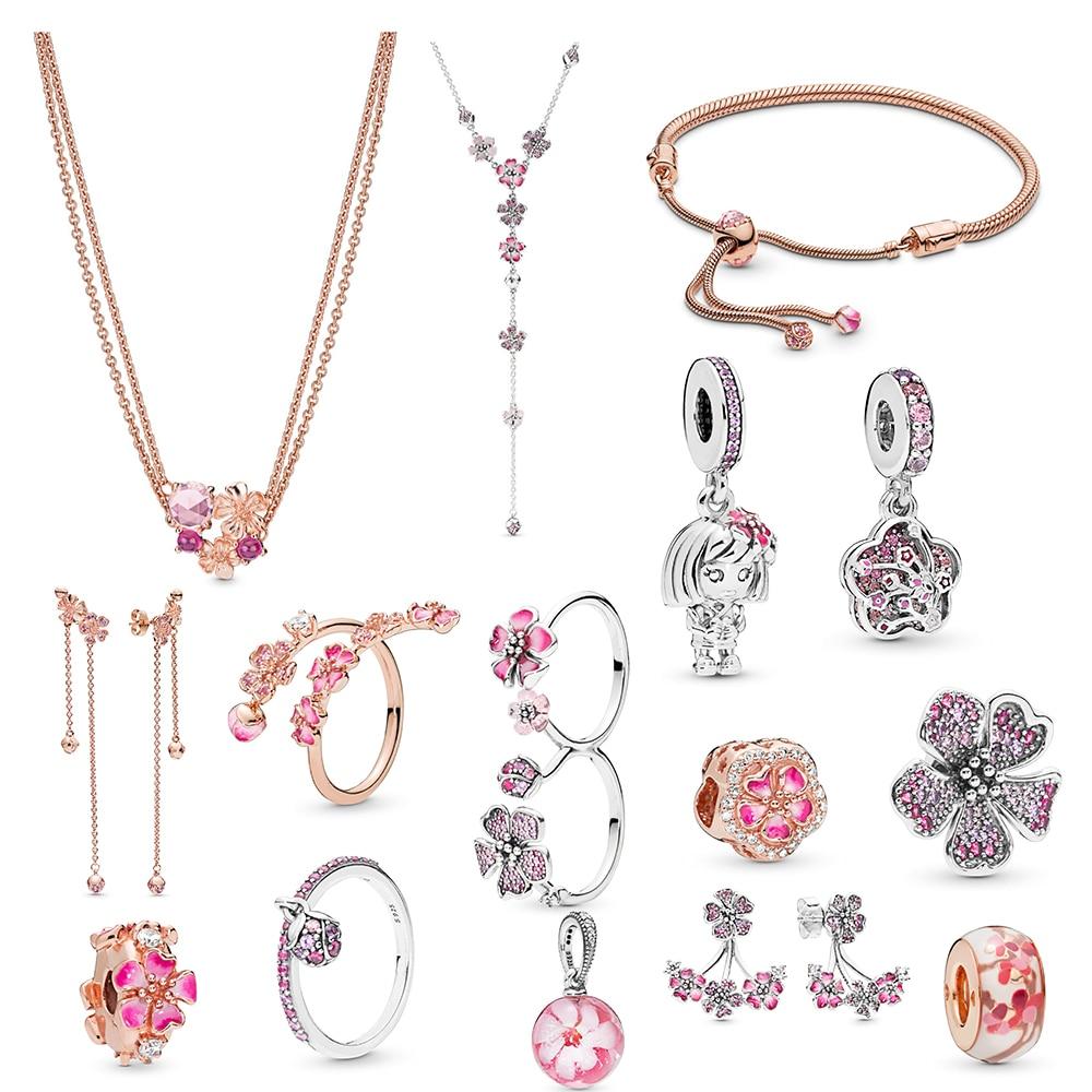 Classic Silver 925 New Peach Blossom Series Romantic Necklace Charm DIY Original Ladies Luxury Jewelry Engagement Birthday Gift