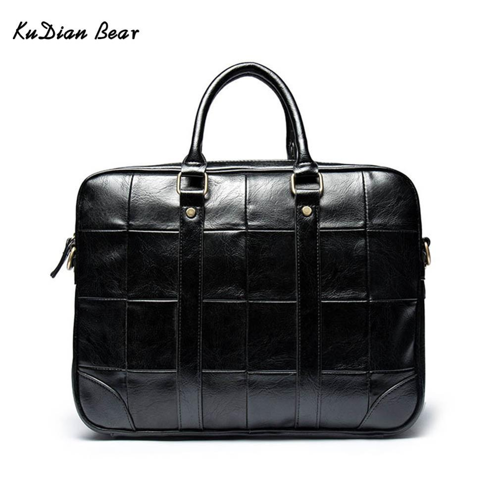 KUDIAN BEAR PU Leather Men Briefcase Business Handbag Black Vintage Men's Bag Luxury Brand Laptop Bag Bolsa Maleta BIG002 PM40