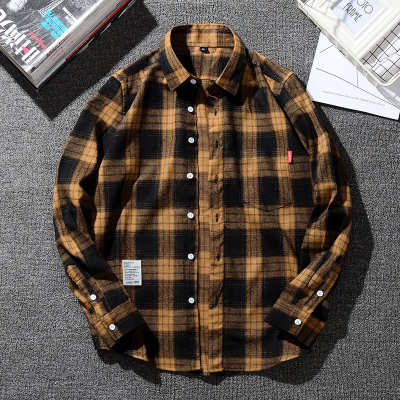 Mens Shirt 50% Cotton Plus Size 6XL 7XL 8XL 9XL 10XL 11XL For Big Teenagers 155kg Casual Fashion Plaids Yellow Asian Size SCM606