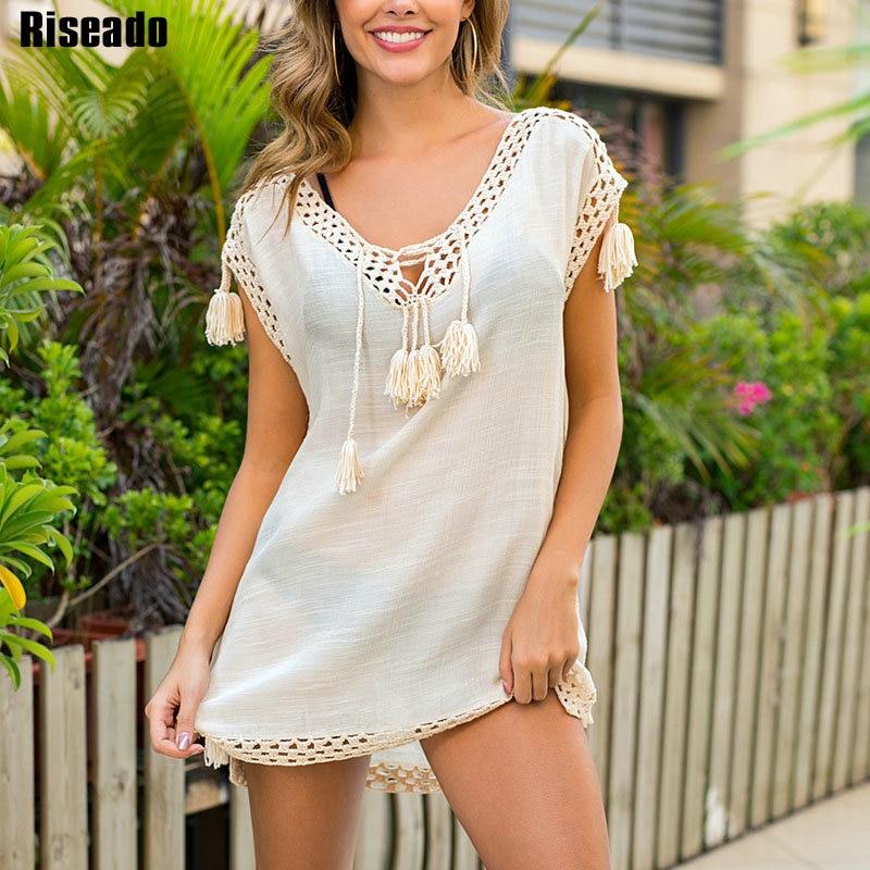 Riseado 2020 New Beach Dress Hollow Out Bathing Suit Cover Ups Beige Tassel Swimwear Women Bikini Cover-up Summer Beachwear