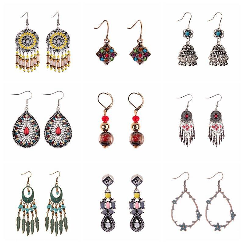 2019 Bohemian Ethnic Water Drop Earring Geometric Round Metal Leaf Tassel Earrings For Women Fashion Long Fringe Earings Jewelry