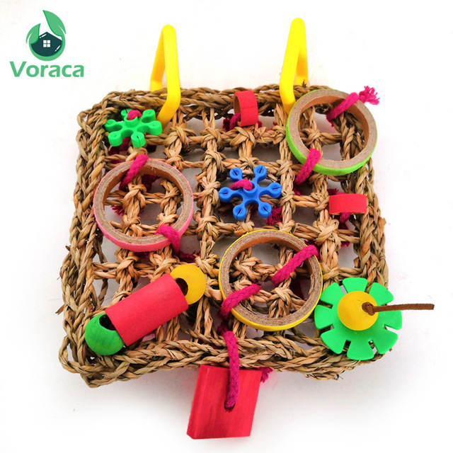 Bird Climbing Net Parrot Toys Woven Seagrass Biting Hanging Hemp Rope Swing Play Ladder Chew Foraging Colorful Funny Parrot Toys 4