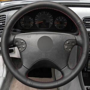 Image 2 - Zwart Lederen Hand Gestikt Auto Stuurhoes Voor Mercedes Benz W210 E Klasse E320 2000 2001 2002