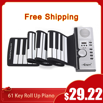 Free Shipping Aiersi Roll Up MIDI Flexible Piano 49 61 Keys Silicone Portable Foldable Soft Keyboard Electronic Piano For Kids