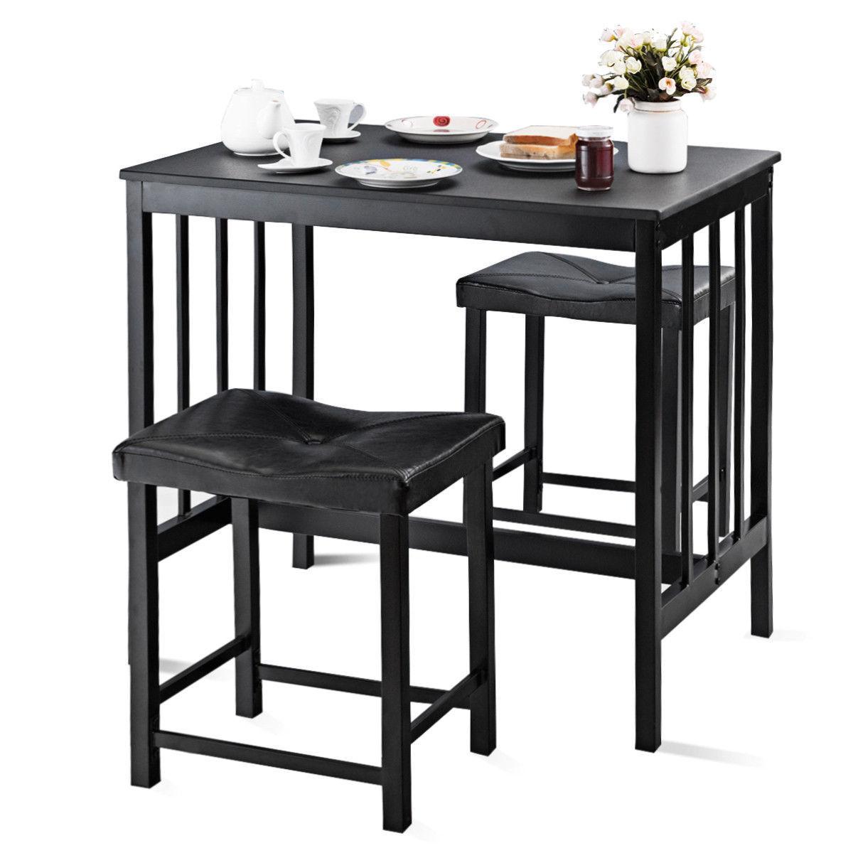 Costway 3 шт. Современный счетчик высоты обеденный стол и 2 стула кухня барная мебель
