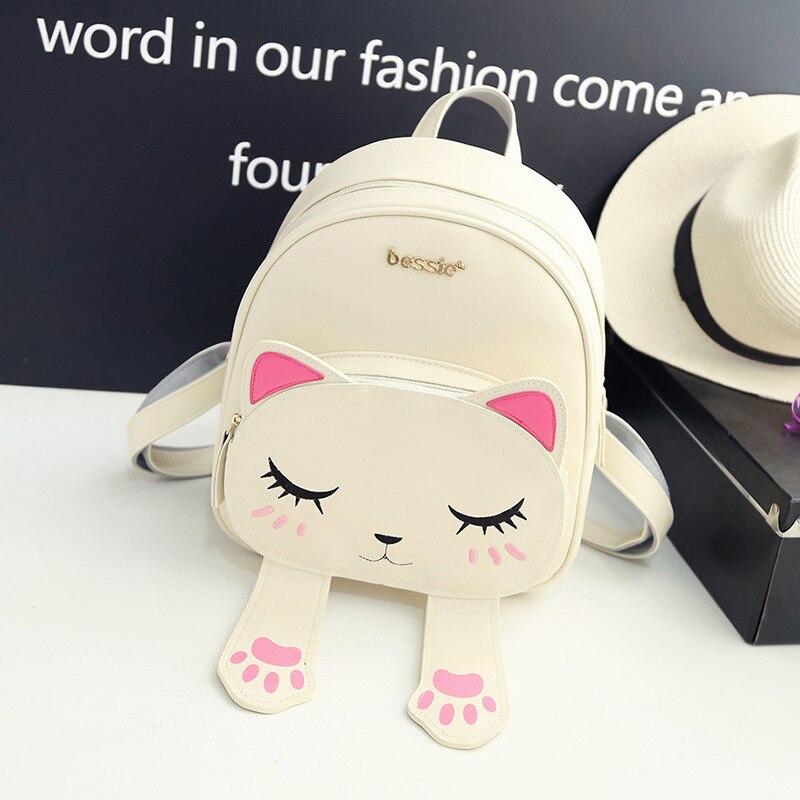 Cat Backpack Black Shoulder-Bag Travel Women New-Fashion Pu Beigefunny