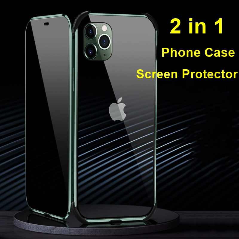 تحديث Tongdaytech غلاف زجاجي مقسى مغناطيسي للخصوصية معدن 360 مضاد للتجسس لهاتف Iphone XR XS 11 Pro MAX 8 7 6 6S Plus