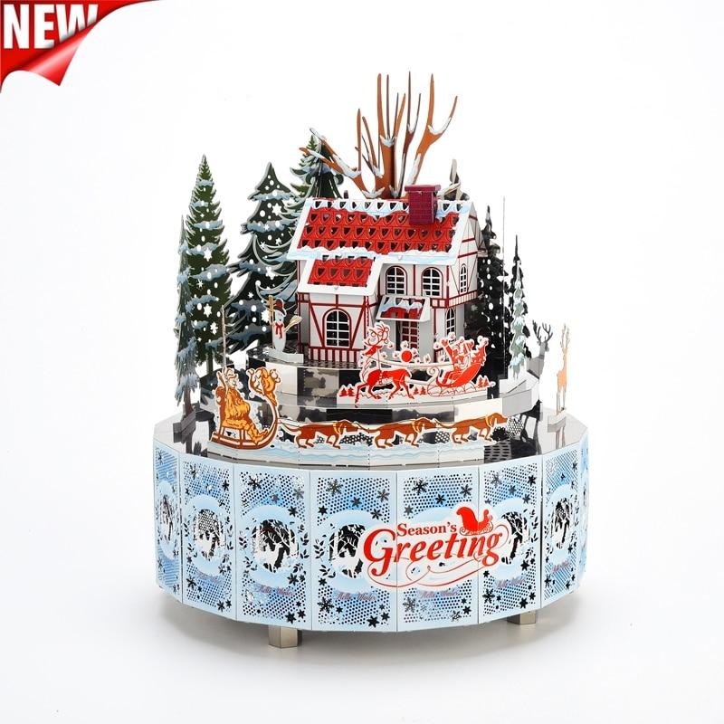 Winter Snowscape Theme DIY Metal Music Box Clockwork Handmade Crafts Music Box Metal Puzzle Christmas Gift Puzzle Music Box