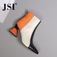 купить JSI Ankle Winter Women Boots Fashion Mixed Colors Strange Heel High Heel Pointed Toe Shoes Genuine Leather Women Boots JC429 по цене 3266.25 рублей