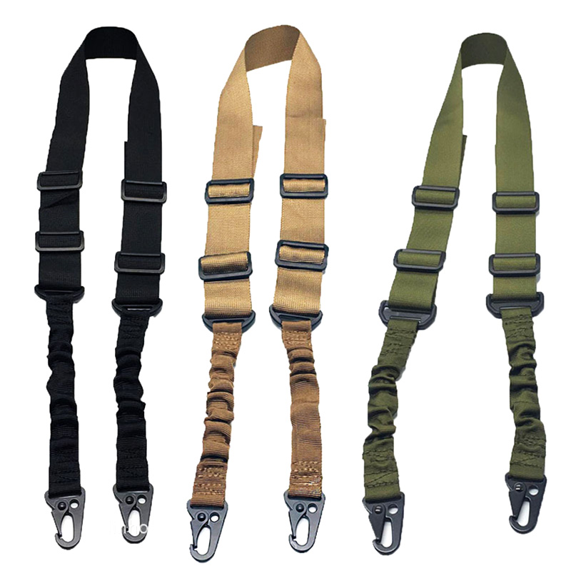 Airsoft Tactical 2 Points Rifle Sling Strap Heavy Duty Gun Belt Strap Adjustable Sling Strap Bungee System Hunting Accessories
