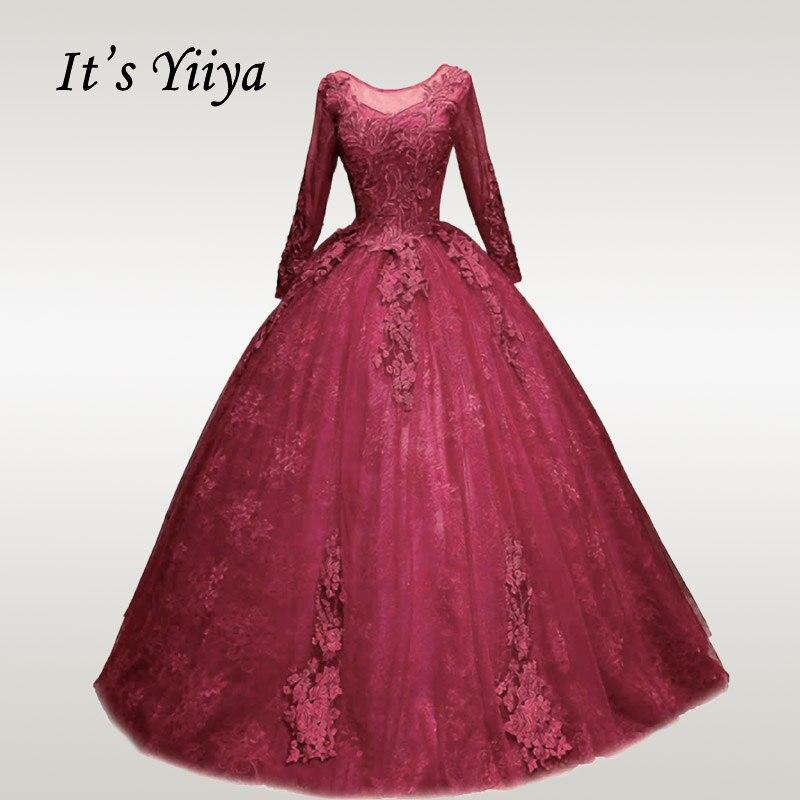 It's YiiYa Wedding Dress O-neck Long Sleeve Bridal Dresses Elegant Plus Size Robe De Mariee Muslim Wedding Ball Gowns CH129