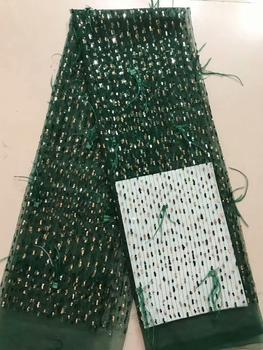 Hot sales dark green sequins Nigerian Laces Fabric High Quality French Tulle Lace Fabric For Women Dress FFD928