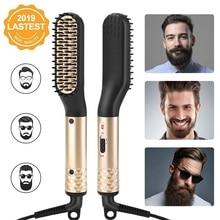 ANLAN Beard Hair Straightener Brush Multifunctional Men Ceramic Heated Quick Styler Comb