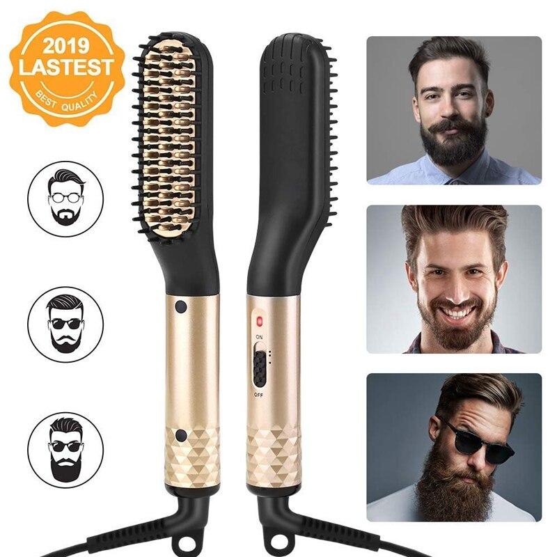 ANLAN Hair Comb Brush Beard Straightener Multifunctional Hair Straightening Comb Hair Curler Quick Beard Hair Styler For Men