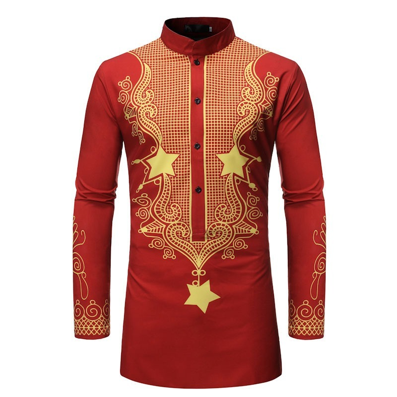 2021 New Autumn Man Shirt Mens Ethnic Printed Stand Collar Cotton Linen Short Sleeve Loose Hawaiian Shirt hawaiian shirt