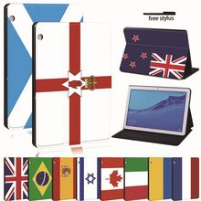 Untuk Huawei MediaPad T3 8.0 /T3 10 9.6 /T5 10 Kulit Tablet Stand Folio Cover-Bendera Tablet stand Case Untuk Honor Play Pad(China)
