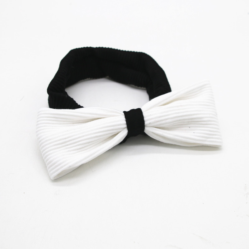 Winter New Style Ribbed Baby Bands With Bows Pompom Black And White  Kids Hair Accessories