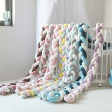 1M/2M/3M Newborn Baby Bumper Bed Braid Knot Pillow Cushion Bumper for Infant Protector Long Knotted Braid Pillow Knot Crib