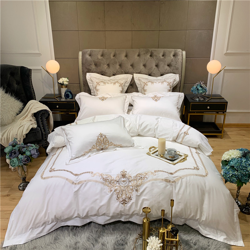 High End Egyptian Cotton Embroidery Duvet Cover Set Queen King Size 4Pcs  White Blue Luxury Bedding Set Bed Sheet Pillowcase