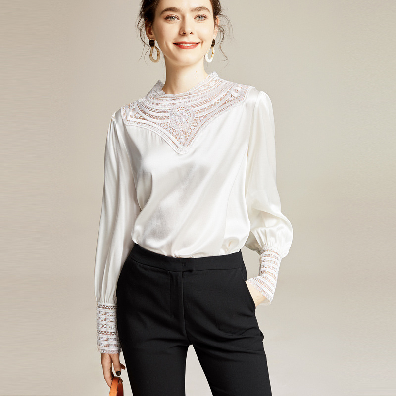 2020 Summer Women's New Elegant Hollow Solid Color Long-Sleeved Silk Satin Silk Western Style Shirt