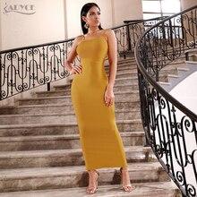 Adyceボディコンサマー包帯ドレスの女性 2020 セクシーなスパゲッティストラップノースリーブマキシクラブ有名人のイブニングパーティードレスvestidos