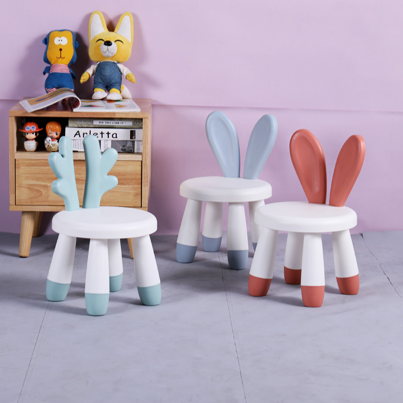 Children's Chairs Baby Cute Cartoon Bench Household Rabbit Chair Backrest Chair Plastic Stool Kids Chair For Kids Furniture