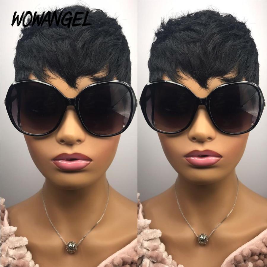 Wowangel Short Pixie Wave Wig Lace Front Human Hair Wigs For Black Women Natural Wave Wig Heat Resistant Wigs Bob Lace Front Wig