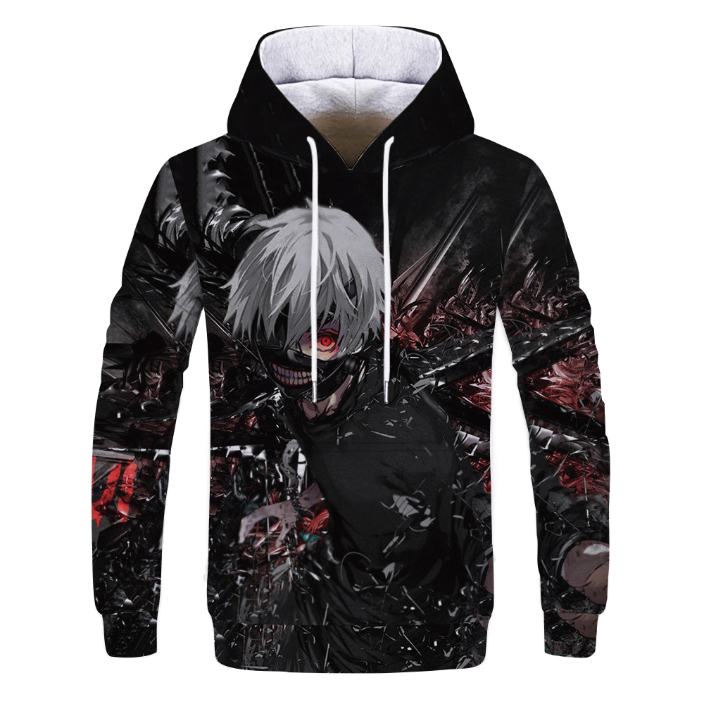 2019 NEW Casual Anime Tokyo Ghoul Hoodies 3d Autumn Fashion Sweatshirts Hoodie Harajuku Hip Hop Men Women Couples Hooded