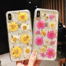 Gold Foil Real Pressed Dried Flowers Phone Case for IPhone XS Max XR 6 6s 7 8 Plus X Silicone Clear Floral Cover Cases Fundas