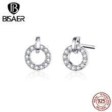 Счастливые серьги BISAER,, 925 пробы, серебро, кубический циркон, Круглый Круг, маленькие серьги-гвоздики для женщин, ювелирные изделия ECE767