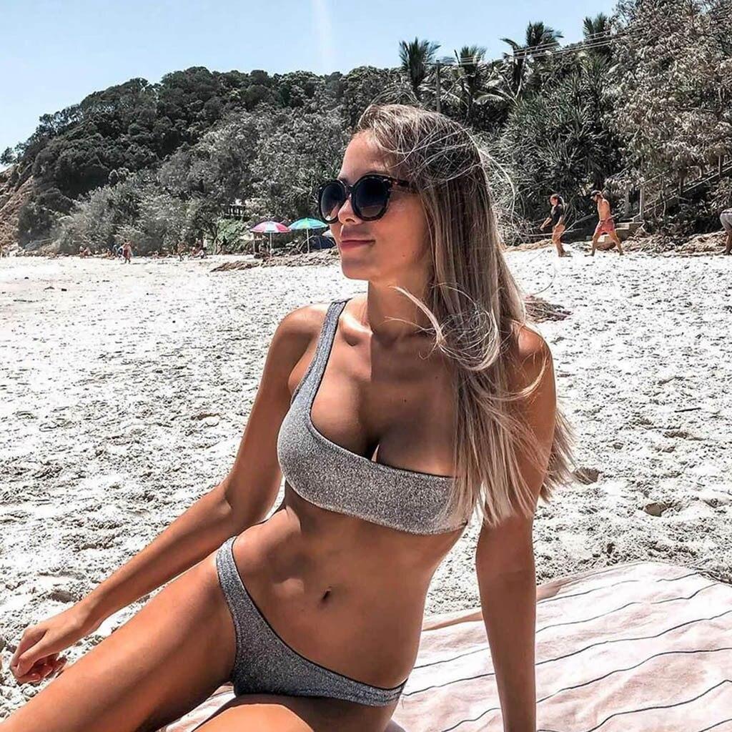 #Z35 Fashion New Glitter Bikini Set Women Solid One Shoulder Breast Pad Swimwear Women Split Swimsuit Bathing Suit Women Bikinis