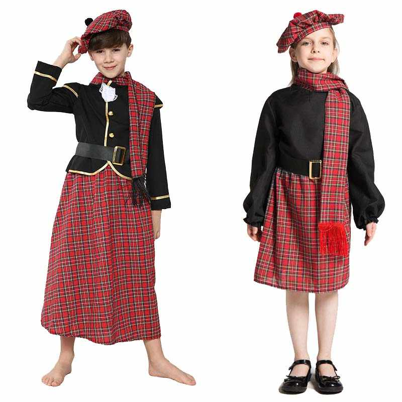 Italian Made 5 Pc Girls Tartan Scottish Pageant Fancy Dress Costume Outfit 0-11y