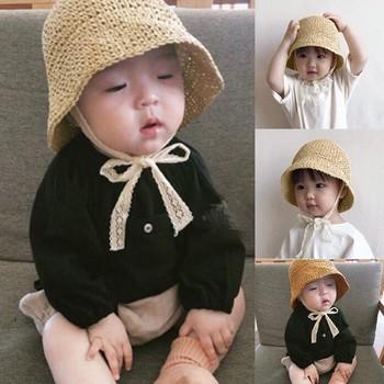 40 #25 # koreański styl dzieci dzieci kapelusze słomkowe lato ochronna powłoka chroniąca przed słońcem kapelusze koronkowy pas składane kapelusze ochrona Uv kapelusze wiadro tanie i dobre opinie Poliester CN (pochodzenie) Unisex DOME Drukuj Na co dzień