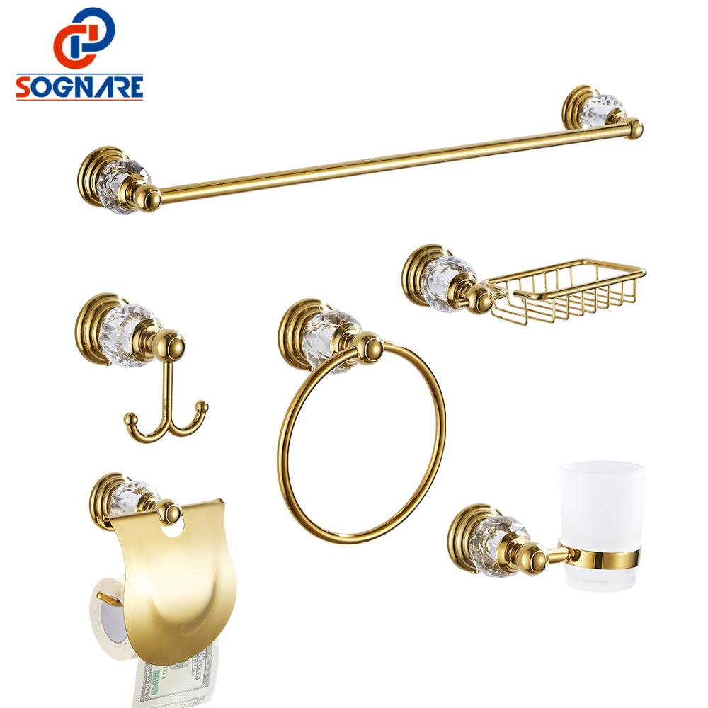 SOGNARE 6pcs Golden Bathroom Accessories Set Brass Luxury Bath Hardware Sets Wall Mounted Crystal Bathroom Fixtures 6100XG