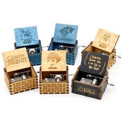 Antique Carved  Music Box Game of Thrones Music Box Star Wars Wooden Hand Crank Theme Music Caixa De Musica