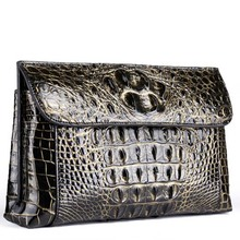 yinshang new crocodile leather men envelope bag Brush gold baglarge capacity business men clutch bag men bag 26cm17cm 6cm