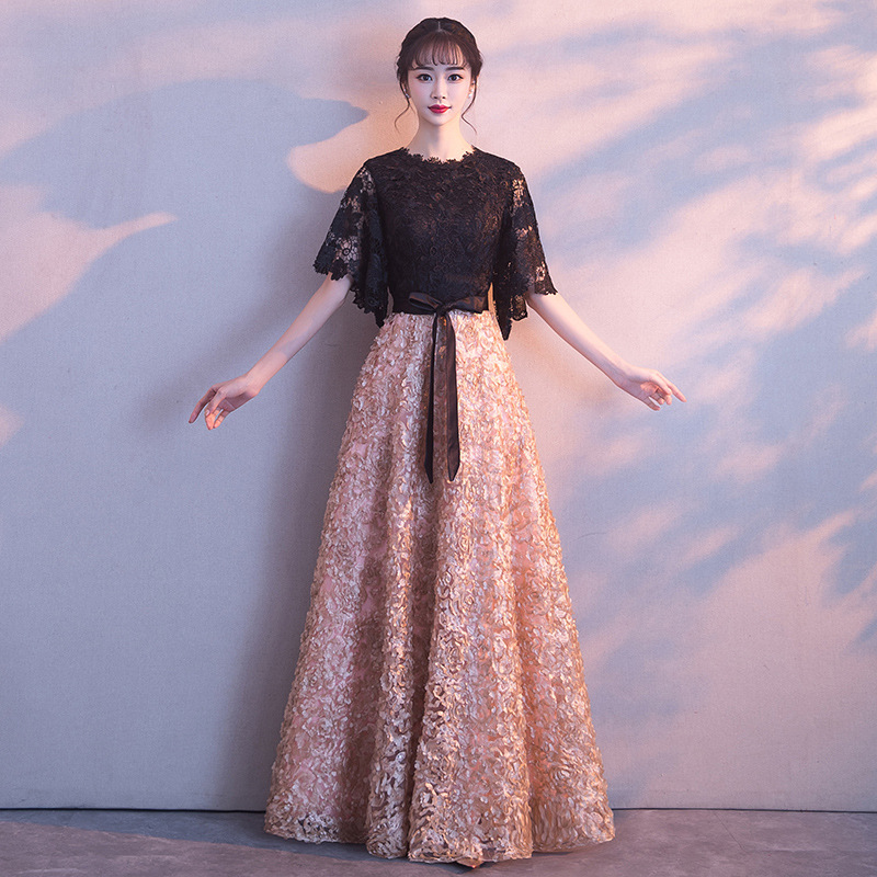 Evening Dress Long 2019 New Style Fashion Elegant Party Host Women's Slim Fit Slimming Banquet Princess Autumn