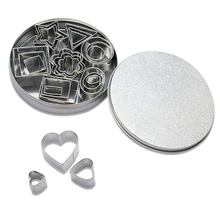 Cookie Cutter Stainless Steel 24 PCS Cookie Cake Cutters with Box DIY Mini Cookie Cutter with Heart Star e-Shape Ellipse кондитерские шприцы наборы clovins cookie 3435