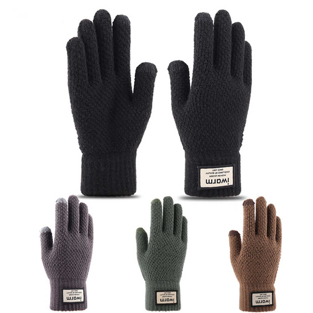 Men Gloves Wool Cashmere Solid Color Knitted Warm Touch Screen Winter Mitten New