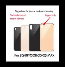 50pcs tampa da bateria grande orifício da câmera porta traseira para iphone 8 plus x xr xs max 8g 8 p substituição de vidro da tampa traseira com adesivo