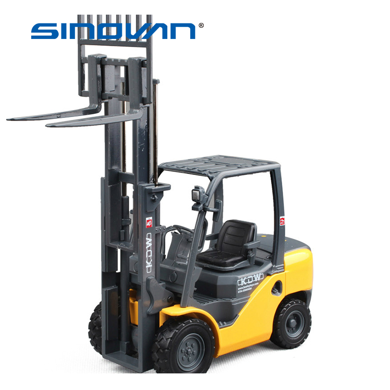 Alloy Diecast 1:20 Forklift Diecast Model Toy Children Gifts Two-Position Mast Raises And Lowers Simulated Light Forklift Model