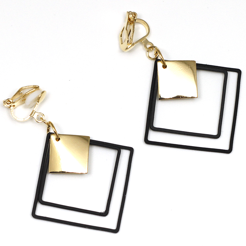 Black Metal Square Clip On Earrings Without Piercing Geometry Square No Ear Hole Earrings Simple Style Earring Jewelry CE376