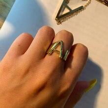 Первоначальный a z письмо кольцо для женщин алфавит кольца Регулируемый