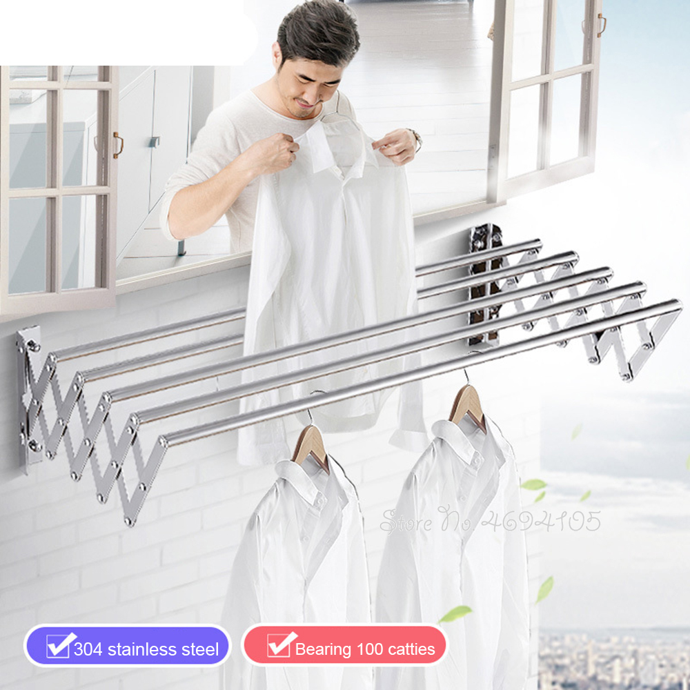 New Upgrade Stainless Steel W-Type Space Saver Clothes Rack Wall Mounted Collapsible Laundry Folding Clothes Drying Rack Hangers