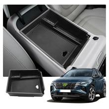 Lfotpp carro central caixa de armazenamento de braço para tucson nx4 2021 antiderrapante recipiente de borracha auto interior tidying acessórios preto
